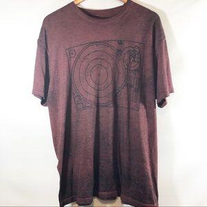 Hybrid burnout t shirt with turntable design sz XL